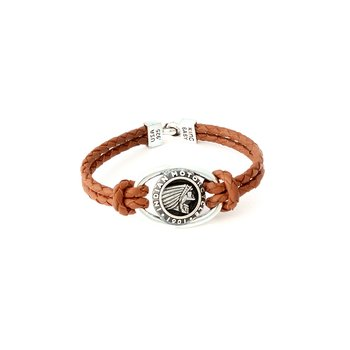 Double Brown Leather Braid Bracelet With Indian Icon And Hook Clasp