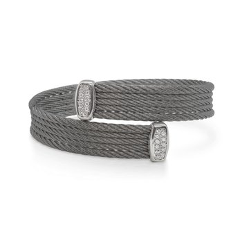 Steel Grey Cable Bypass Bracelet with 18tk White Gold & Diamonds