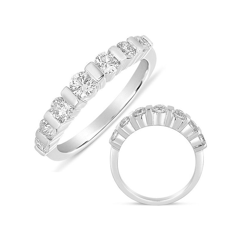 S. Kashi  & Sons Bar Set Dome White Gold Ring