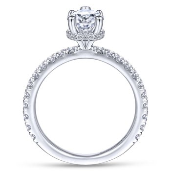14K White Gold Hidden Halo Pear Shape Diamond Engagement Ring