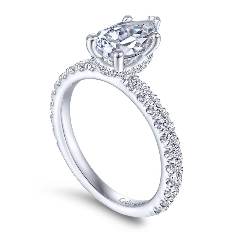 Gabriel Bridal 14K White Gold Hidden Halo Pear Shape Diamond Engagement Ring