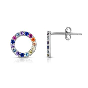 Silver Rainbow CZ Round Stud Earrings