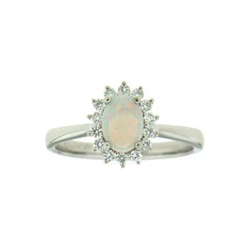 14k White Gold Ring with Opal & Diamond