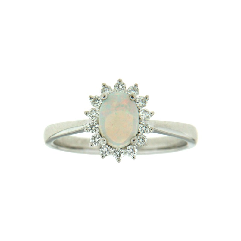 Paragon Fine Jewellery 14k White Gold Ring with Opal & Diamond