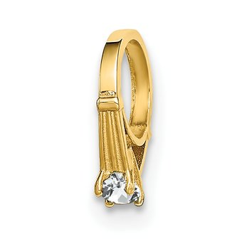14K 3D Ring with White CZ Charm