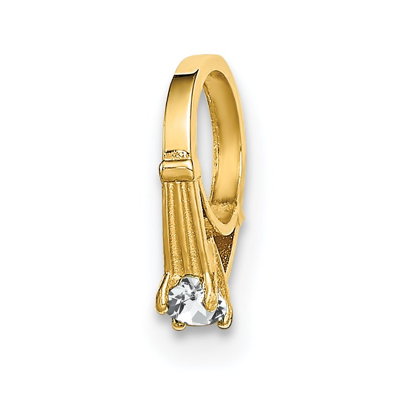 Quality Gold 14K 3D Ring with White CZ Charm