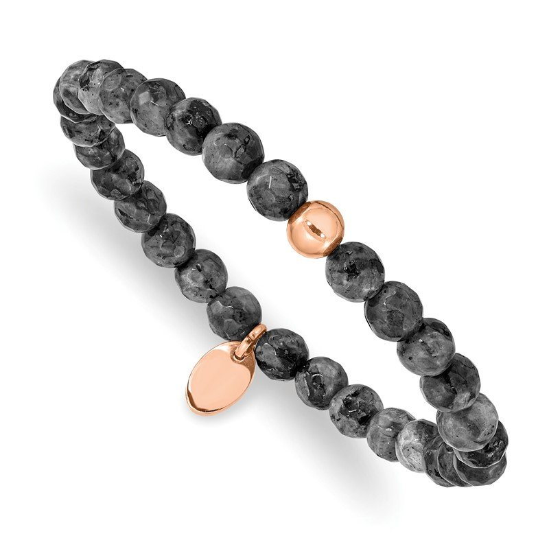 Chisel Stainless Steel Polished Rose IP-plated Spectrolite Beaded Stretch Bracelet