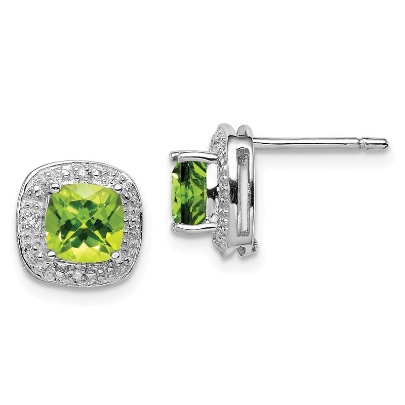 Lester Martin Online Collection Sterling Silver Rhodium Peridot & Diamond Post Earrings