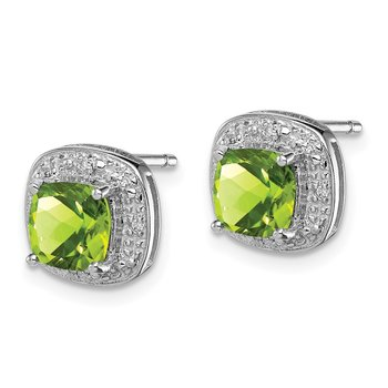 Sterling Silver Rhodium Peridot & Diamond Post Earrings