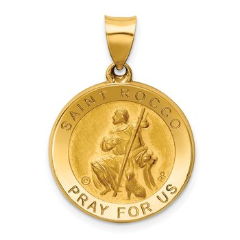14K Polished / Satin St. Rocco Hollow Medal Pendant