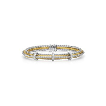 Grey & Yellow Cable Tiered Stackable Bracelet with Triple Diamond Station set in 18kt White Gold