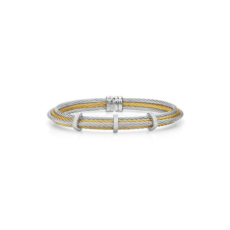 ALOR Grey & Yellow Cable Tiered Stackable Bracelet with Triple Diamond Station set in 18kt White Gold