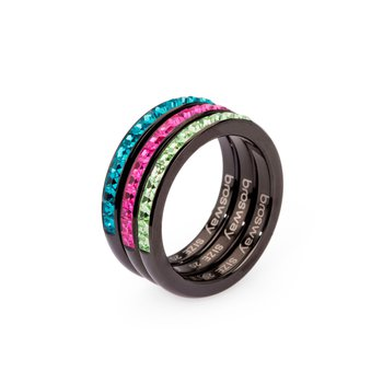 316L stainless steel, black pvd, peridot, fuchsia and indicolite Swarovski® Elements
