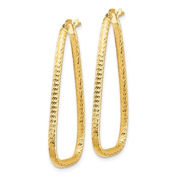 14k 2mm Diamond-cut Twisted Triangle Hoop Earrings