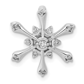14k White Gold Diamond Snowflake Chain Slide