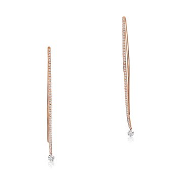 14K Rose Gold Curve Diamond Earrings