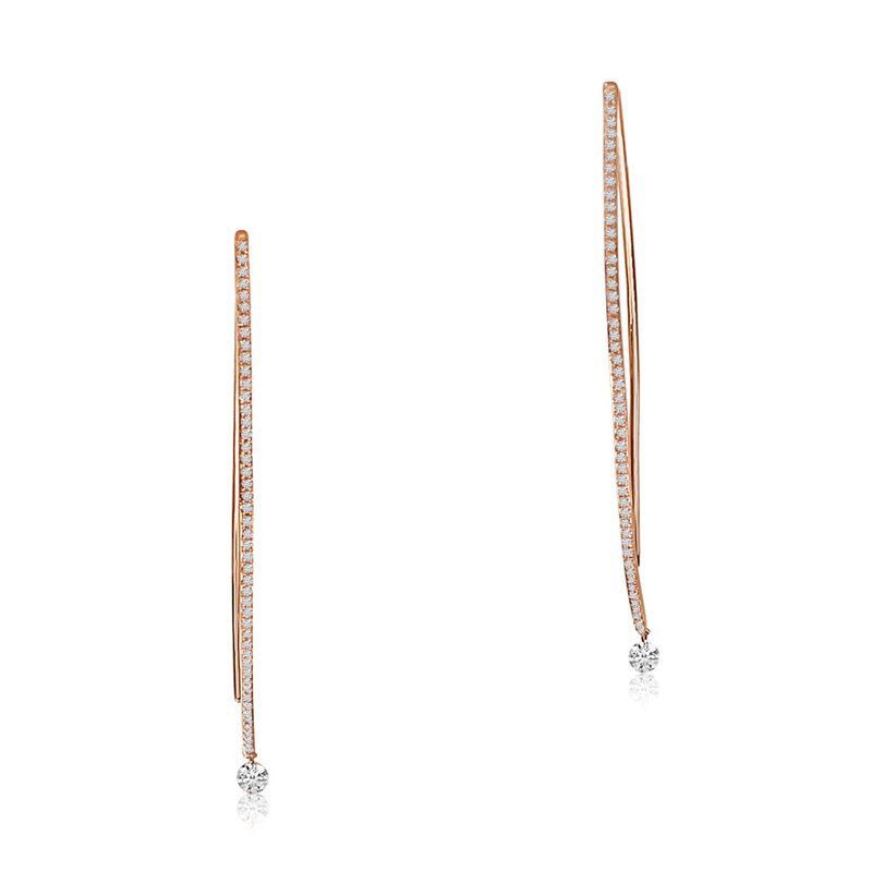Color Merchants 14K Rose Gold Curve Diamond Earrings