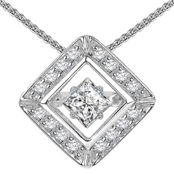 14K Diamond Rhythm Of Love Pendant 3/4 ctw