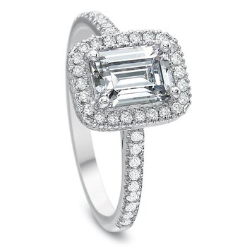 18K White Gold  halo semi mount for 1.00 ct emerald cut center