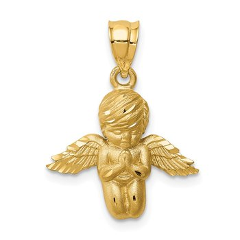 14K Brushed & Diamond-cut Angel Pendant