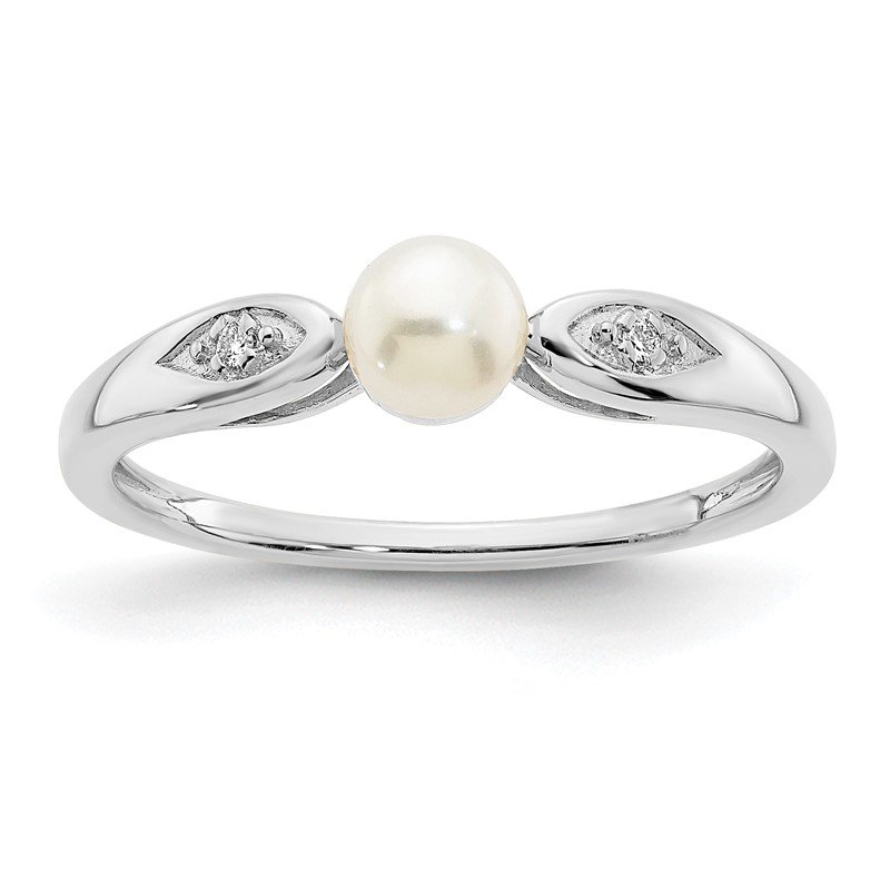 Fine Jewelry by JBD 14k White Gold FW Cultured Pearl and Diamond Ring