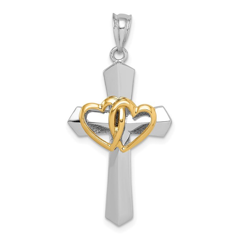 Quality Gold 14k Two-tone Cross w/Hearts Pendant