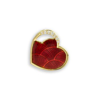 Red Heart Pendant.18K -Diamond