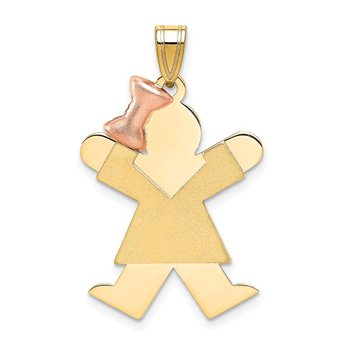 14k Two-Tone Large Girl with Bow on Left Engravable Charm