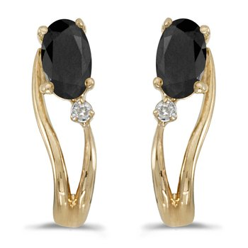 14k Yellow Gold Oval Onyx And Diamond Wave Earrings