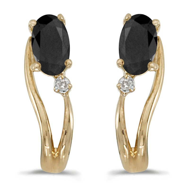 Color Merchants 14k Yellow Gold Oval Onyx And Diamond Wave Earrings