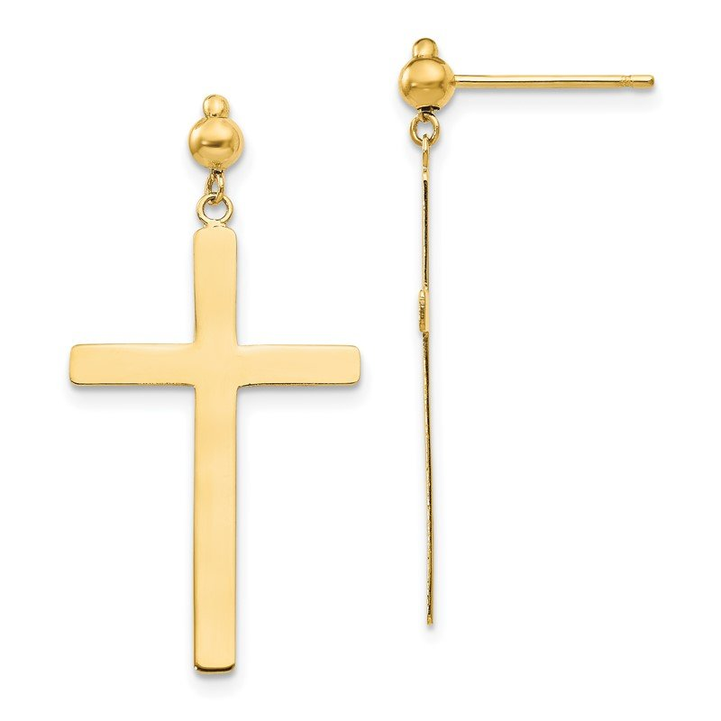Quality Gold 14K Cross Dangle Post Earrings