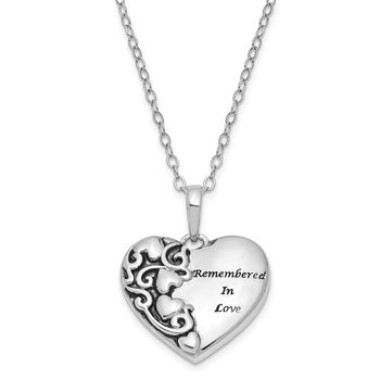Sterling Silver Antiqued Remembered in Love 18in. Necklace