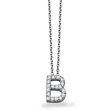 "Diamond Block Initial ""B"" Necklace in 14k White Gold with 18 Diamonds weighing .14ct tw."