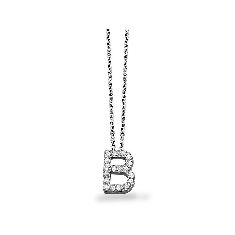 "KC Designs Diamond Block Initial ""B"" Necklace in 14k White Gold with 18 Diamonds weighing .14ct tw."