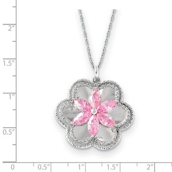 Sterling Silver CZ Pretty in Pink 18in Flower Necklace