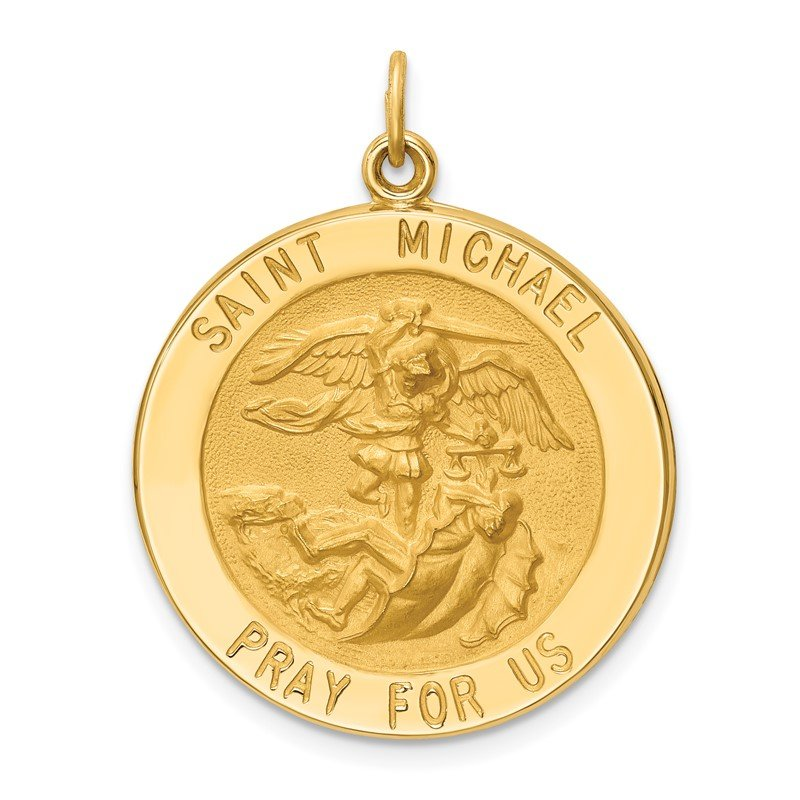 Quality Gold 14k Solid Polished/Satin Large Round St. Michael Medal