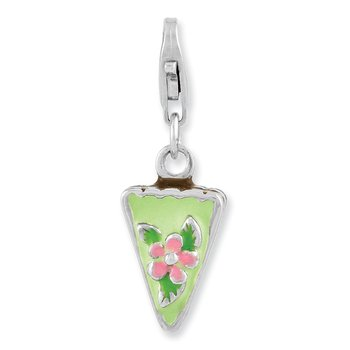 Sterling Silver Rhodium Plated Enameled Green Mint Cake w/Lobster Clasp Cha