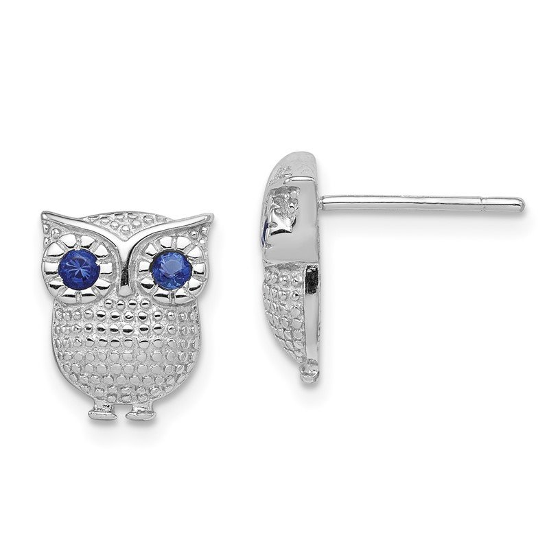 Quality Gold Sterling Silver RH-plated Blue Synthetic Sapphire Owl Post Earrings