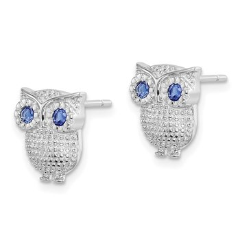 Sterling Silver RH-plated Blue Synthetic Sapphire Owl Post Earrings