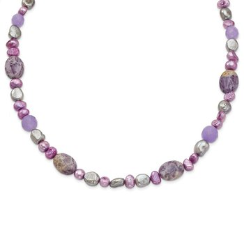Sterling Silver Charoite, Jade/FW Cultured Pearl Necklace