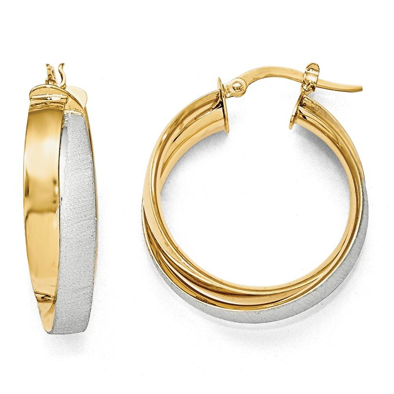 Leslie's Leslie's 14K w/ Rhodium Plated Polished & Textured Hoop Earrings