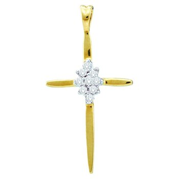 14kt Yellow Gold Womens Round Diamond Cross Faith Pendant 1/12 Cttw