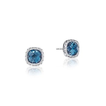 Cushion Gem Earrings with London Blue Topaz