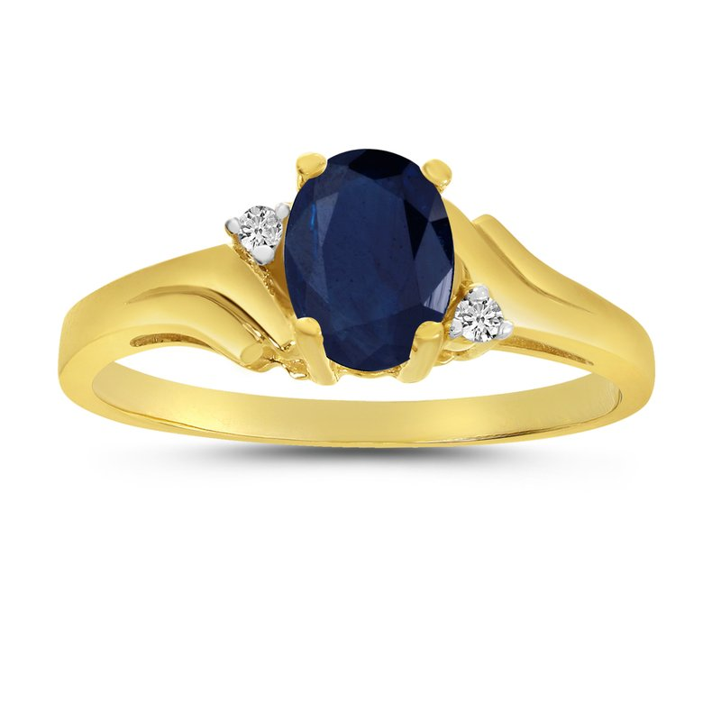 Color Merchants 14k Yellow Gold Oval Sapphire And Diamond Ring