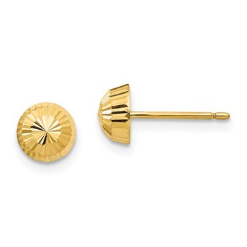 14k Madi K Polished & D/C Swirl 5mm Button Post Earrings