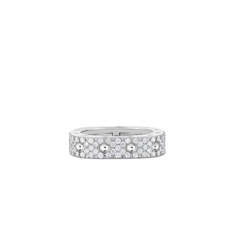 Roberto Coin 1 Row Square Ring With Diamonds &Ndash; 18K White Gold, 6.5