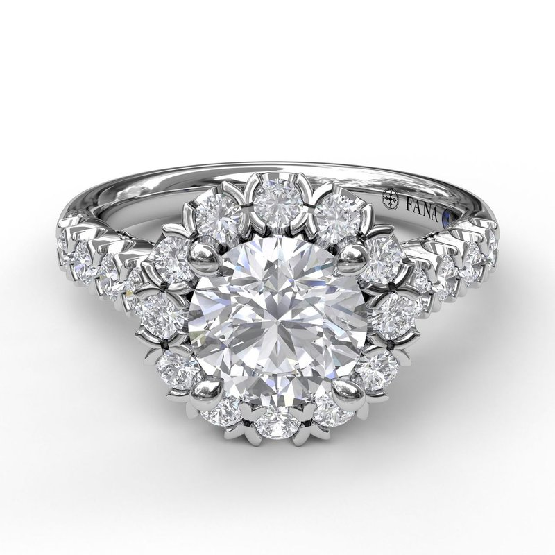 Fana Sparkling Diamond Halo Engagement Ring
