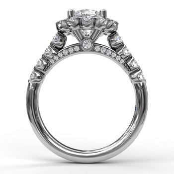Sparkling Diamond Halo Engagement Ring