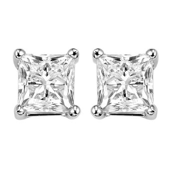 Princess Cut Diamond Studs in 14K White Gold (1 ct. tw.) I1 - G/H