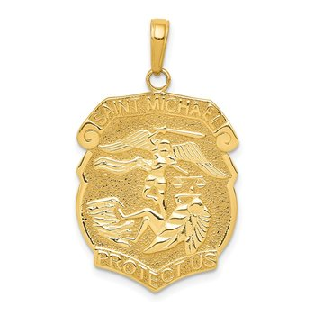 14K Gold Polished Large Saint Michael Protect Us Medal Pendant
